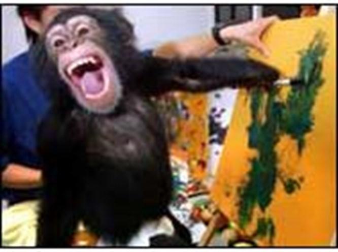 Ressam şempanzenin sergisi